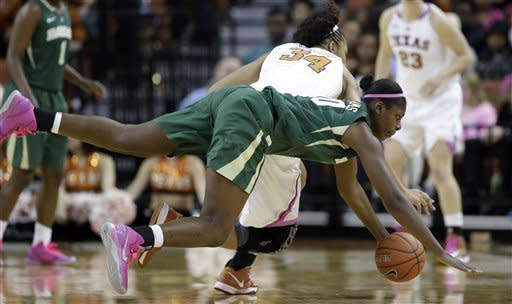 Baylor's Destiny Williams (10) and Texas' Imani McGee-Stafford (34) dive for a loose ball during the first half of an NCAA college basketball game, Saturday, Feb. 9, 2013, in Austin, Texas. (AP Photo/Eric Gay)