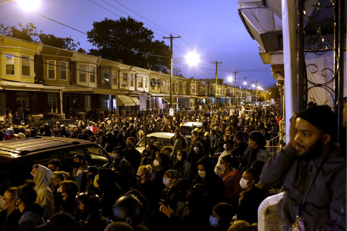 Demonstrators protest the fatal police shooting of Walter Wallace Jr. on October 27, 2020 in Philadelphia, Pennsylvania. (Photo by Joshua Lott/The Washington Post via Getty Images)