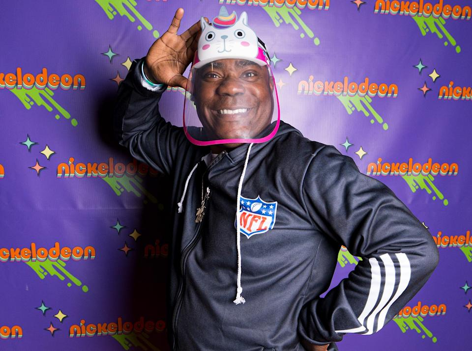 <p>Tracy Morgan is ready for some fun on Saturday as he wears his daughter's cat-themed face mask at the Nickelodeon Kids' Choice Awards Experience at American Dream in New Jersey.</p>