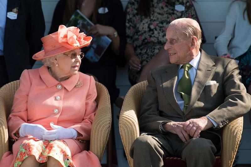 Queen Elizabeth ll and Prince Philip, Duke of Edinburgh attend the Royal Windsor Cup polo at the Guards Polo Club in Egham on Jun 24, 2018.