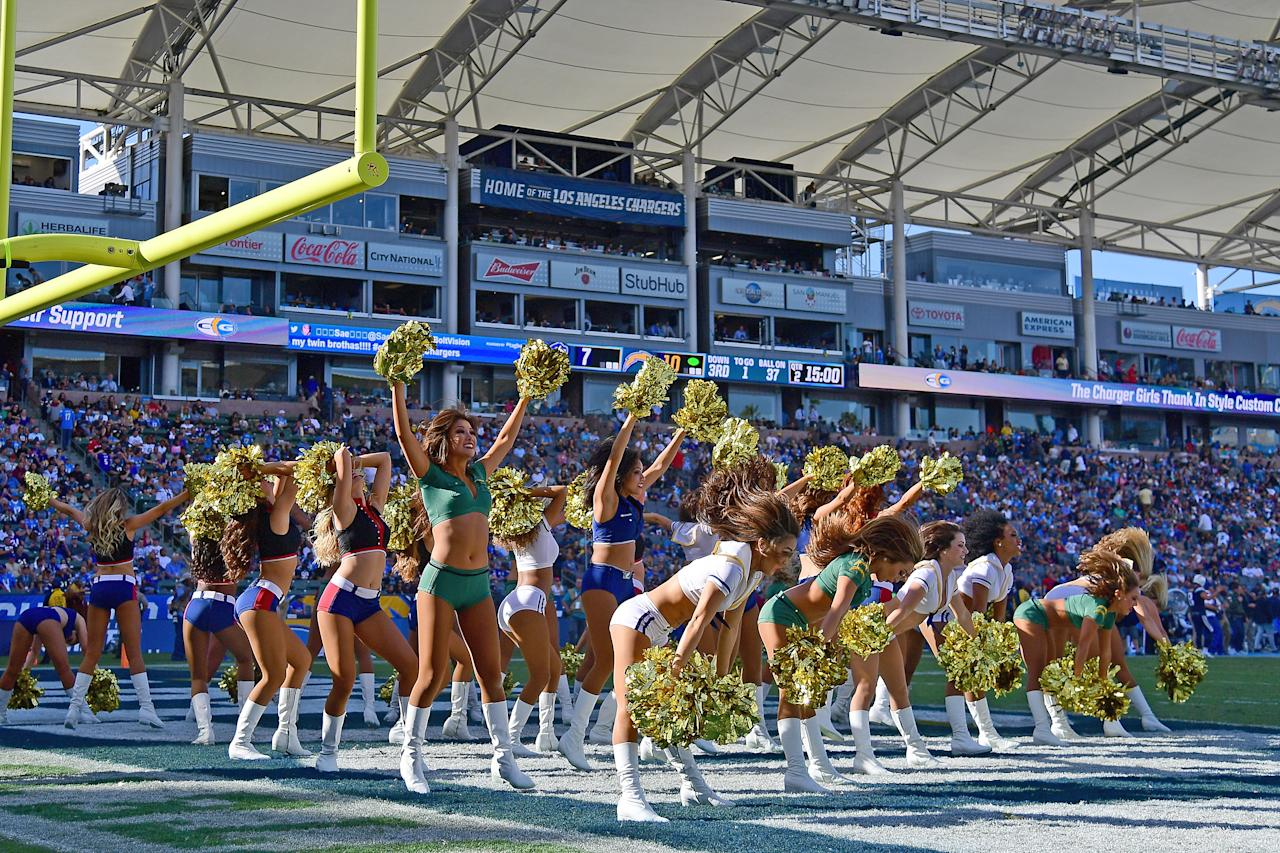<p>The Charger Girls perform during the game between the Los Angeles Chargers and Buffalo Bills at StubHub Center on November 19, 2017 in Carson, California. (Photo by Harry How/Getty Images) </p>