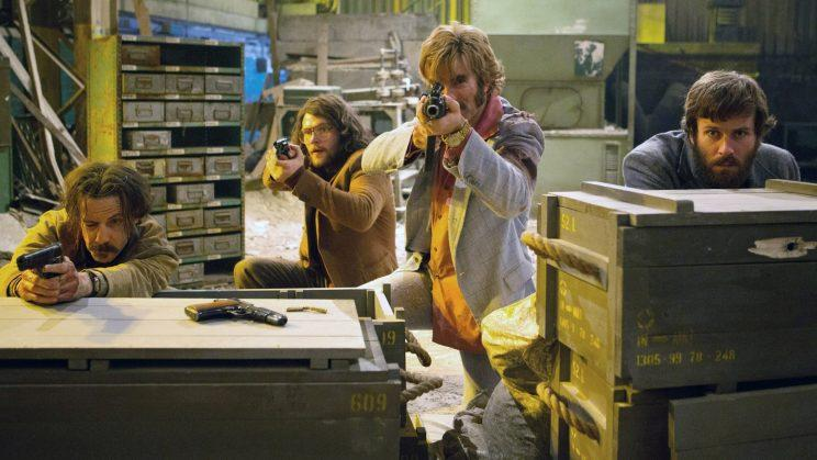 """Noah Taylor, Jack Reynor, Sharlto Copley, and Armie Hammer in """"Free Fire."""""""