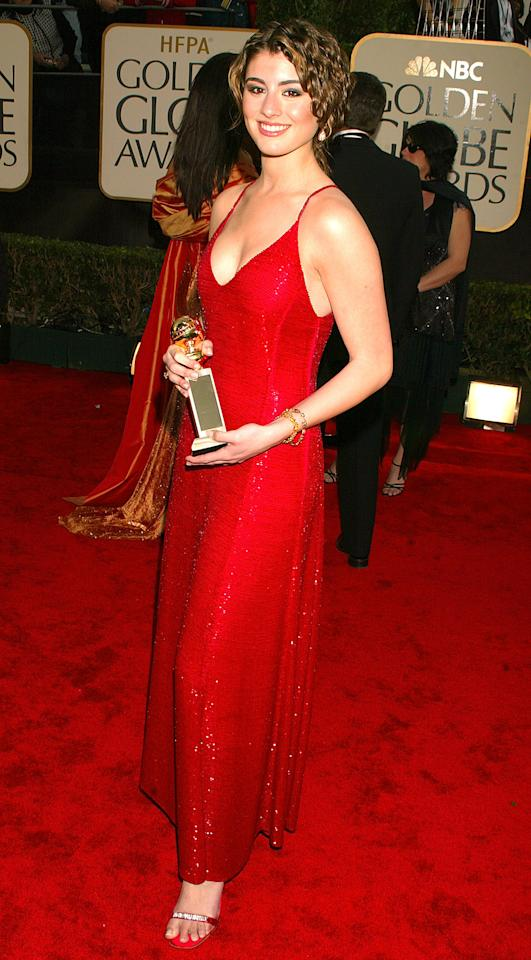 Dominik Garcia-Lorido, Miss Golden Globe, arrivals at the 60th Annual Golden Globe Awards on January 19, 2003. (Photo by Jeffrey Mayer/WireImage)
