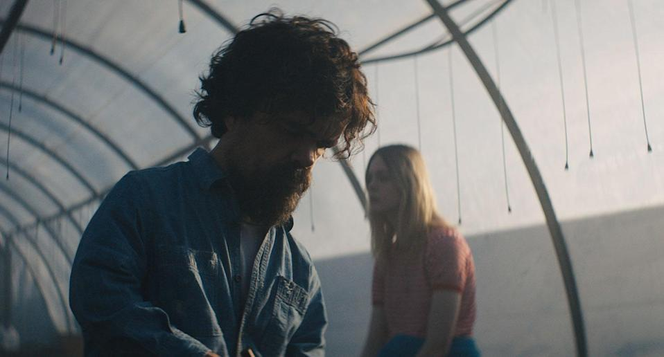 Peter Dinklage as Del and Elle Fanning as Grace in <i>I Think We're Alone Now</i> (The Movie Partnership)