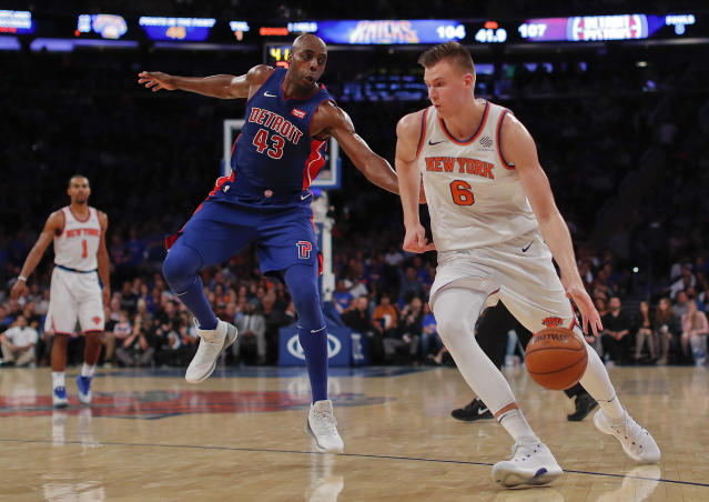 "<a class=""link rapid-noclick-resp"" href=""/nba/teams/nyk/"" data-ylk=""slk:New York Knicks"">New York Knicks</a> forward <a class=""link rapid-noclick-resp"" href=""/nba/players/5464/"" data-ylk=""slk:Kristaps Porzingis"">Kristaps Porzingis</a> (6) is averaging over 30 points per game this season. (AP Photo/Julie Jacobson)"