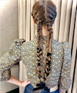 For a style that looks way more complicated than it is, simply braid in some ribbon and connect at the bottom. Your friends will be wondering when you became a secret braiding wizard.