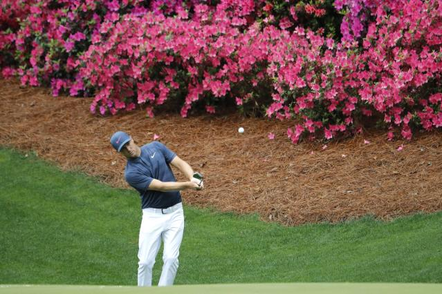 Alex Noren of Sweden chips onto the 13th green during the final day of practice for the 2018 Masters golf tournament at Augusta National Golf Club in Augusta, Georgia, U.S. April 4, 2018. REUTERS/Jonathan Ernst