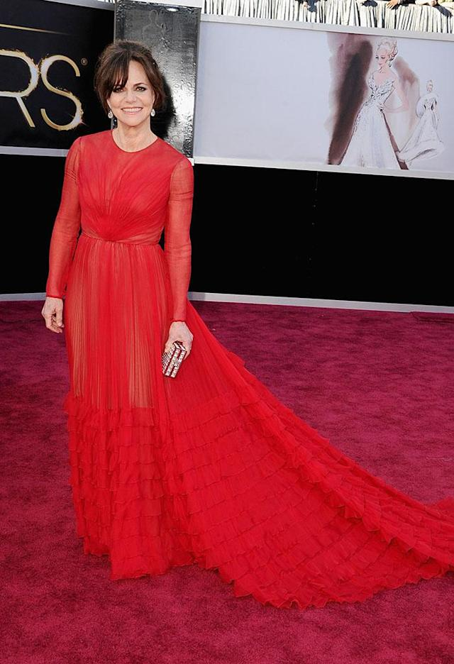 Sally Field arrives at the Oscars in Hollywood, California, on February 24, 2013.