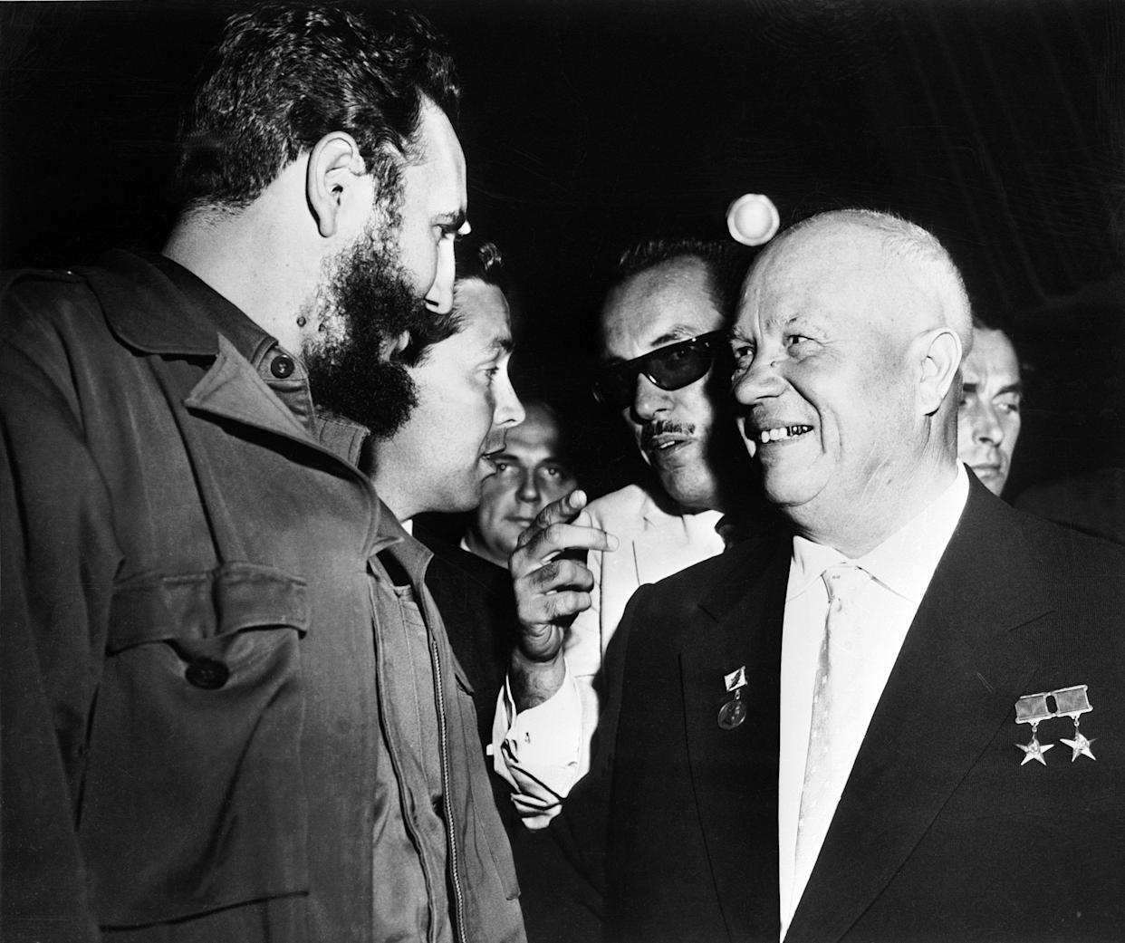 Premier Nikita Khrushchev of the Soviet Union in Havana in 1960, speaking through an interpreter with the Cuban revolutionary leader Fidel Castro. (Photo: Keystone-France/Gamma-Keystone via Getty Images)