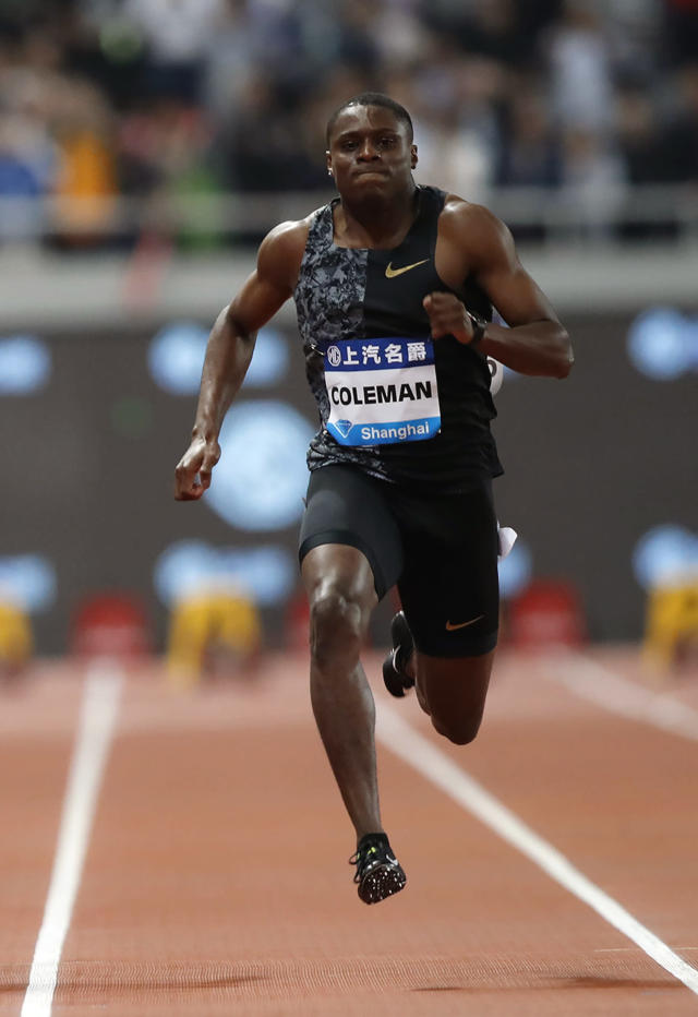 FILE - In this May 18, 2019, file photo, Christian Coleman of the United States competes in the final of the men's 100-meter event during the Diamond League Track and Field meet in Shanghai, China. The world's fastest man now that Usain Bolt is on the sideline is 100-meter runner Christian Coleman, who almost was forced to miss world championships because he had missed too many drug tests. He got a reprieve, but, as always, the specter of doping lingers over the sport's biggest event. (AP Photo/File)