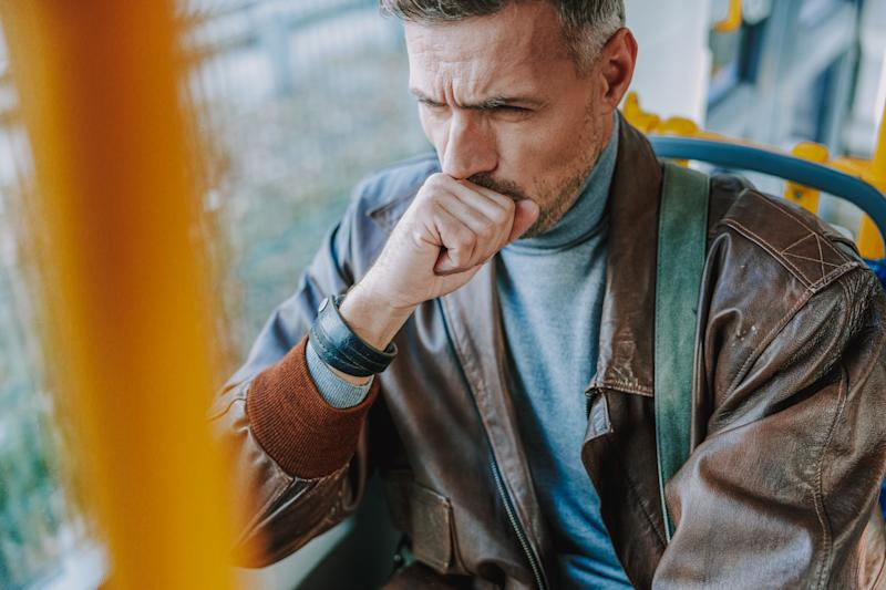 Gentleman using public transport to get home stock photo