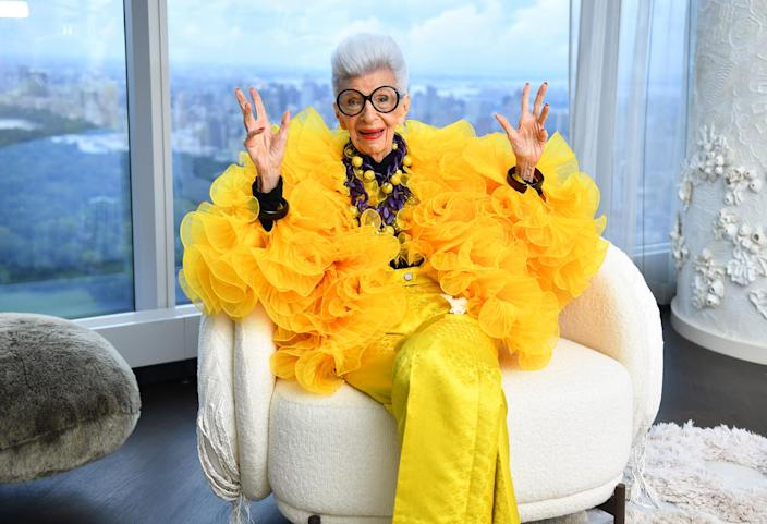Iris Apfel sits for a portrait during her 100th Birthday Party at Central Park Tower on September 09, 2021. (Noam Galai / Getty Images for Central Park To)