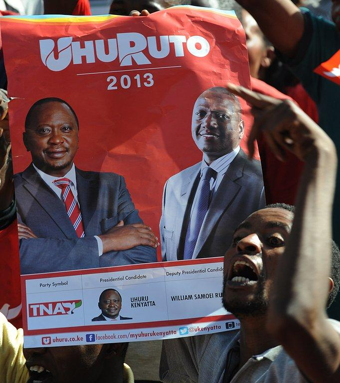 A poster of Uhuru Kenyatta (left) and William Ruto at a rally in Nairobi on February 13, 2013