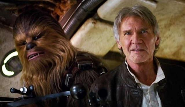 Chewbacca and Han Solo in 'Star Wars: The Force Awakens'. (Credit: Disney/Lucasfilm)