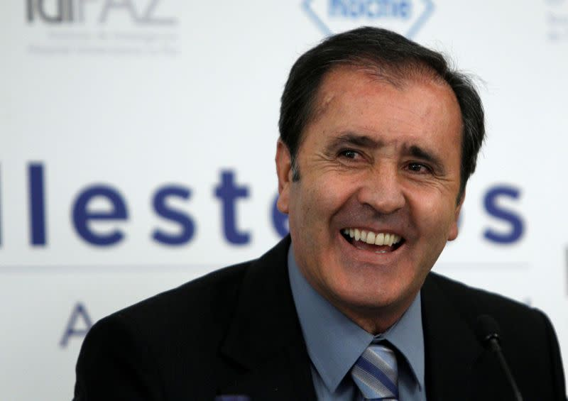 FILE PHOTO: Spain's former golf player Severiano Ballesteros laughs during a news conference in Madrid