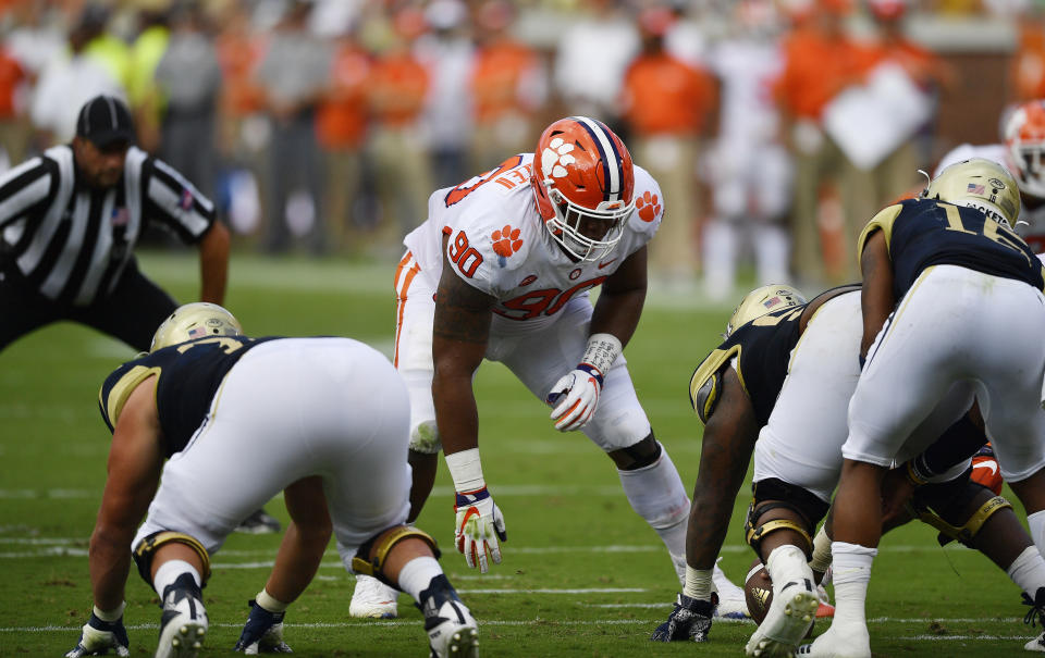 Clemson defensive tackle Dexter Lawrence (90) works against Georgia Tech during the first half of an NCAA college football game, Saturday, Sept. 22, 2018, in Atlanta. (AP Photo/Mike Stewart)