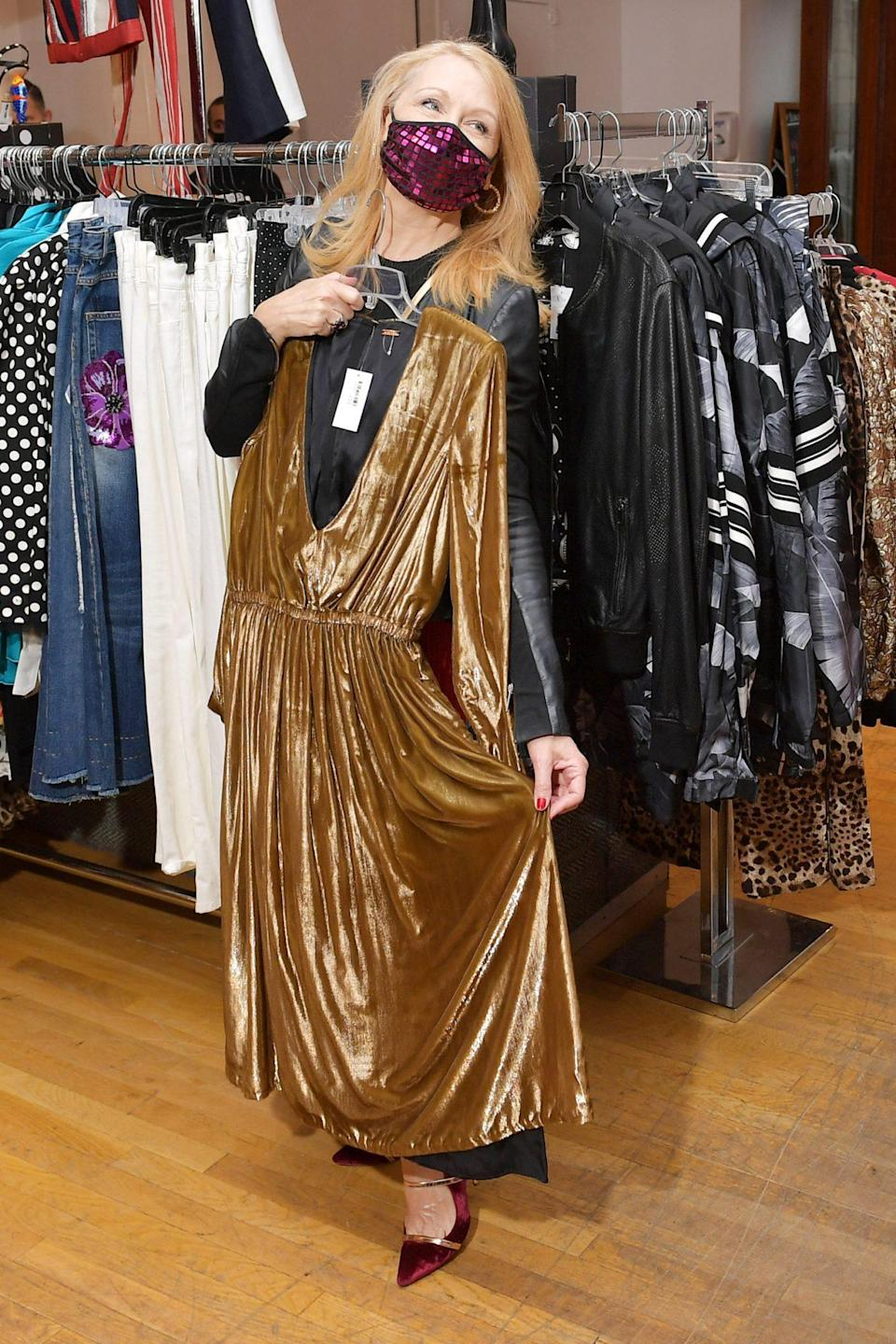 <p>Patricia Clarkson shows off a dress while attending House Works' annual Fashion for Action Benefit in N.Y.C. on Thursday. </p>