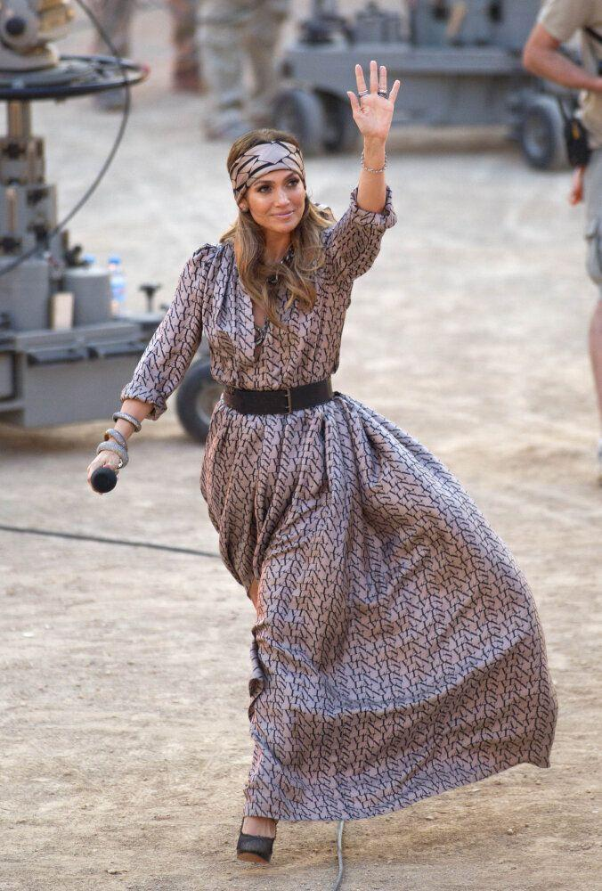 US singer and actress Jennifer Lopez rocks boho chic with this dress and matching headband.