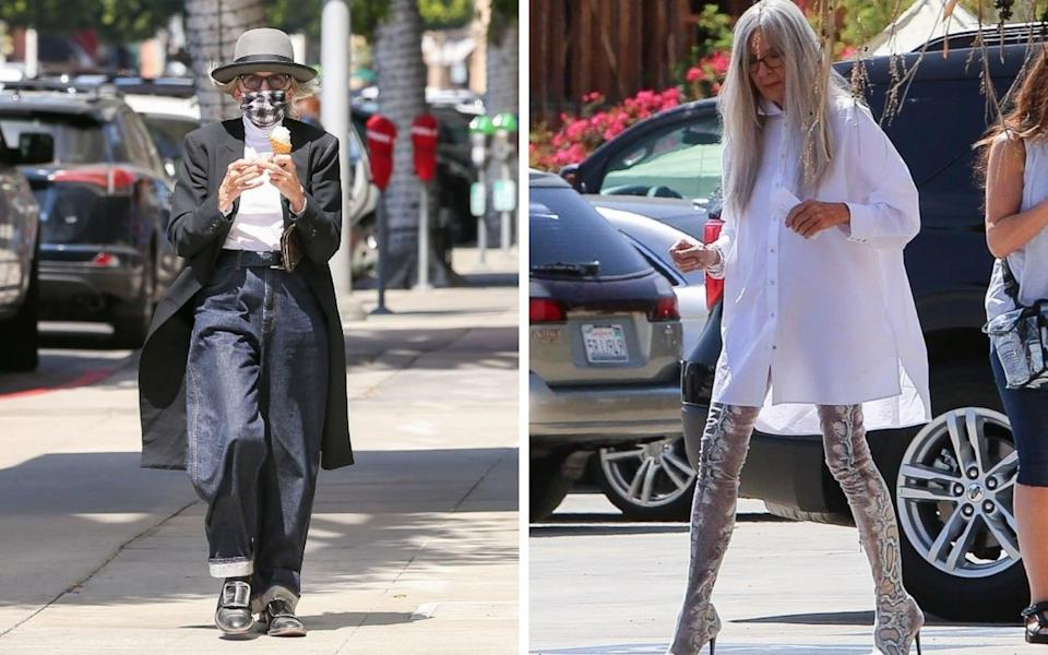 Diane Keaton out for ice cream in Los Angeles, and on the set of Mack & Rita in Palm Springs