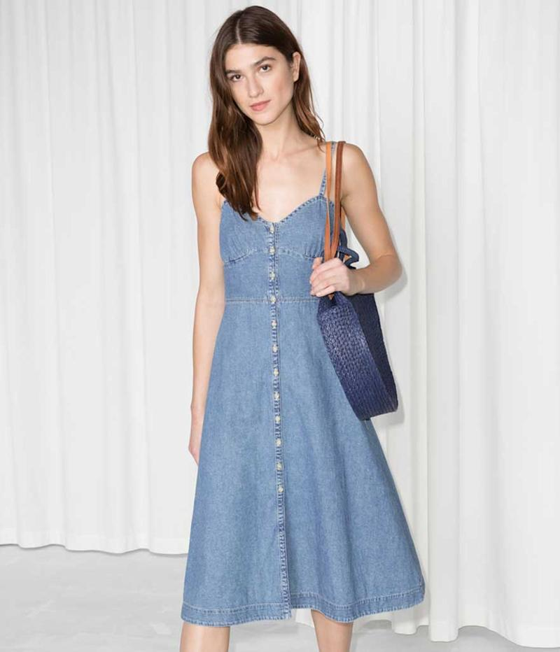 Denim maxi button down dress.