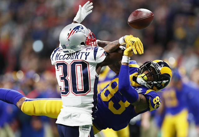 <p>Jason McCourty #30 of the New England Patriots defends a pass against Josh Reynolds #83 of the Los Angeles Rams in the first half during Super Bowl LIII at Mercedes-Benz Stadium on February 3, 2019 in Atlanta, Georgia. (Photo by Jamie Squire/Getty Images) </p>