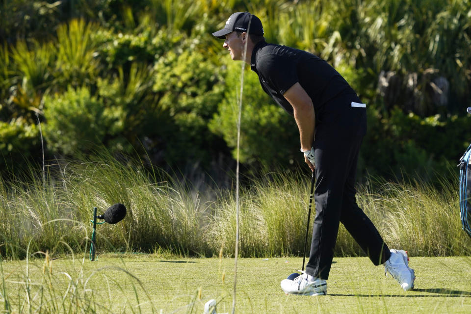 Jordan Spieth watches his tee shot on the 12th hole during the first round of the PGA Championship golf tournament on the Ocean Course Thursday, May 20, 2021, in Kiawah Island, S.C. (AP Photo/Matt York)