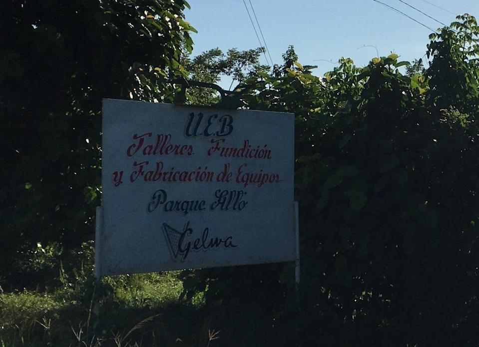 The sign to our family's old farm in Rodas, Cuba. The farm was nationalized by the Communist Party in the 1960s.