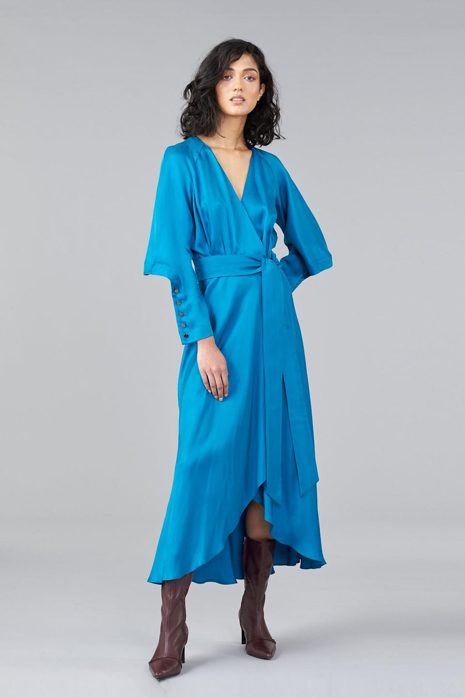 Ginger and Smart blue wrap dress