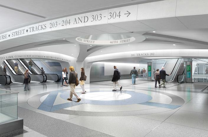 In this undated artist's rendering provided by the Metropolitan Transportation Authority in New York, the Mezzanine node of the Second Avenue Subway at 46th Street in New York City is shown. The Second Avenue Subway is being built to ease rider congestion on Lexington Avenue trains. (AP Photo/Metropolitan Transportation Authority)