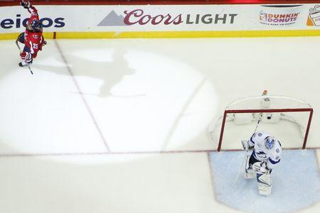 May 21, 2018; Washington, DC, USA; Washington Capitals right wing Devante Smith-Pelly (25) celebrates after scoring a goal on Tampa Bay Lightning goaltender Andrei Vasilevskiy (88) in the third period in game six of the Eastern Conference Final in the 2018 Stanley Cup Playoffs at Capital One Arena. The Capitals won 3-0. Mandatory Credit: Geoff Burke-USA TODAY Sports