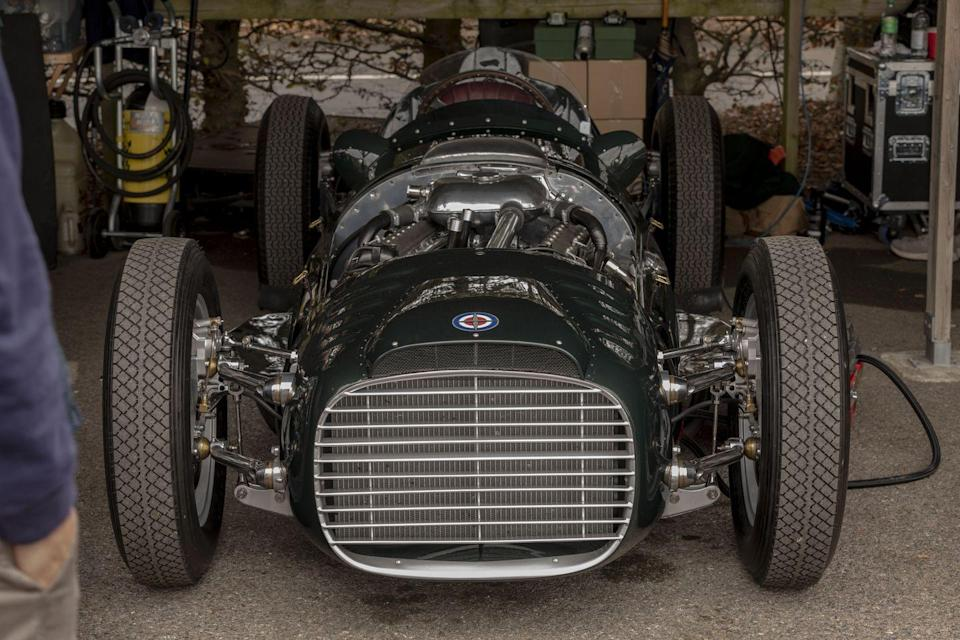 <p>It was a special weekend for British Racing Motors (BRM), the national team that wanted to carry the hopes of all England to the Formula 1 Championship in the 1950s. They tried with this, the Type 15, powered by a 1.5-liter supercharged V-16. Somehow, the displacement of a Ford Fiesta combined with the cylinder count of a Bugatti Veyron and forced induction didn't yield victories. BRM finally got its moment in the spotlight over the weekend, though, debuting the first of three continuation Type 15s to the former team principal's 72-year-old son.</p>
