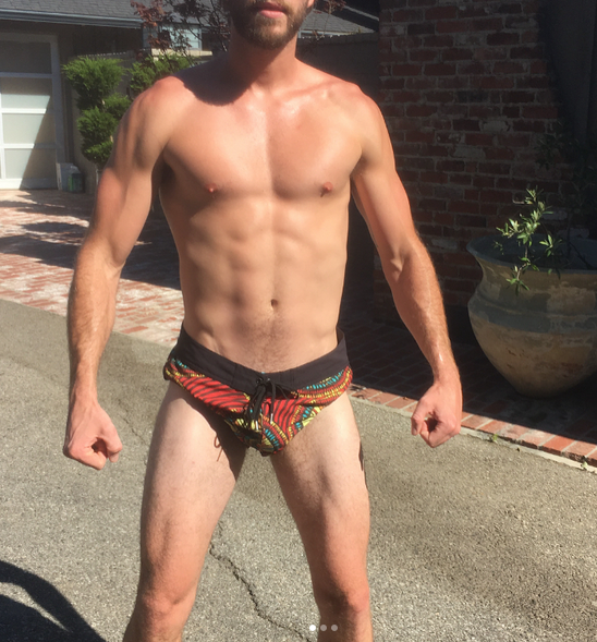 """<p>When he's not hanging out with his """"angel,"""" Miley Cyrus, the movie star isn't afraid to show off his physique. """"Here's to ice baths and flexing in tiny shorts,"""" he wrote on a series of photos that included this thigh-high ensemble. We agree. (Photo: <a rel=""""nofollow noopener"""" href=""""https://www.instagram.com/p/BWWqfSklAkJ/?taken-by=liamhemsworth"""" target=""""_blank"""" data-ylk=""""slk:Liam Hemsworth via Instagram"""" class=""""link rapid-noclick-resp"""">Liam Hemsworth via Instagram</a>) </p>"""