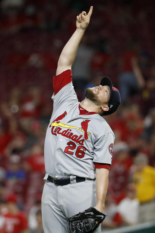 St. Louis Cardinals relief pitcher Bud Norris celebrates after closing out the team's 4-2 win in a baseball game against the Cincinnati Reds, Tuesday, July 24, 2018, in Cincinnati. (AP Photo/John Minchillo)