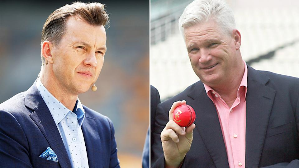 Brett Lee (pictured left) during commentary and Dean Jones (pictured right) holding a cricket ball for a photo.