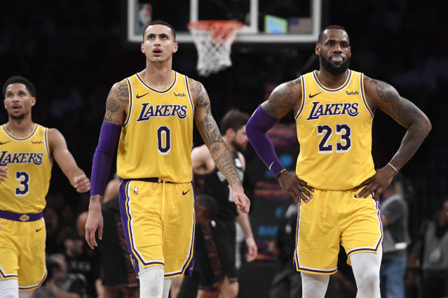 Kyle Kuzma said the biggest thing the Lakers need to do to make the postseason is to simply have fun. (Sarah Stier/Getty Images)