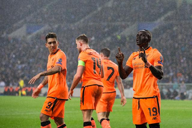 Liverpool's Sadio Mane celebrates one of his three goals against Porto on Wednesday. (Getty)