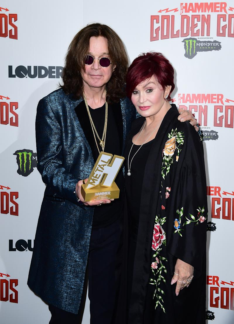 Ozzy Osbourne with his Golden God award and wife Sharon Osbourne in the press room at the Metal Hammer Golden Gods Awards 2018 held at indigo at The O2 in London. (Photo by Ian West/PA Images via Getty Images)
