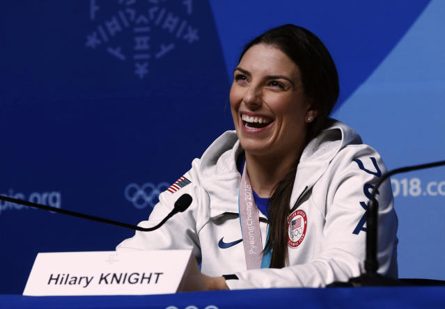 United States' Hilary Knight, gold medalist in the women's hockey talks during a news conference at the 2018 Winter Olympics in Pyeongchang, South Korea, Friday, Feb. 23, 2018. Twenty years after taking gold when the sport was added to the Olympics, the United States snapped Canada's streak of four straight golds on Thursday. (AP Photo/Peter Morgan)