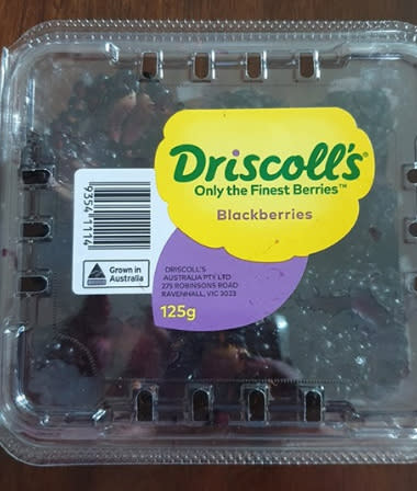 Pictured is the Driscoll's packet of berries purchased at Coles. Source: Facebook