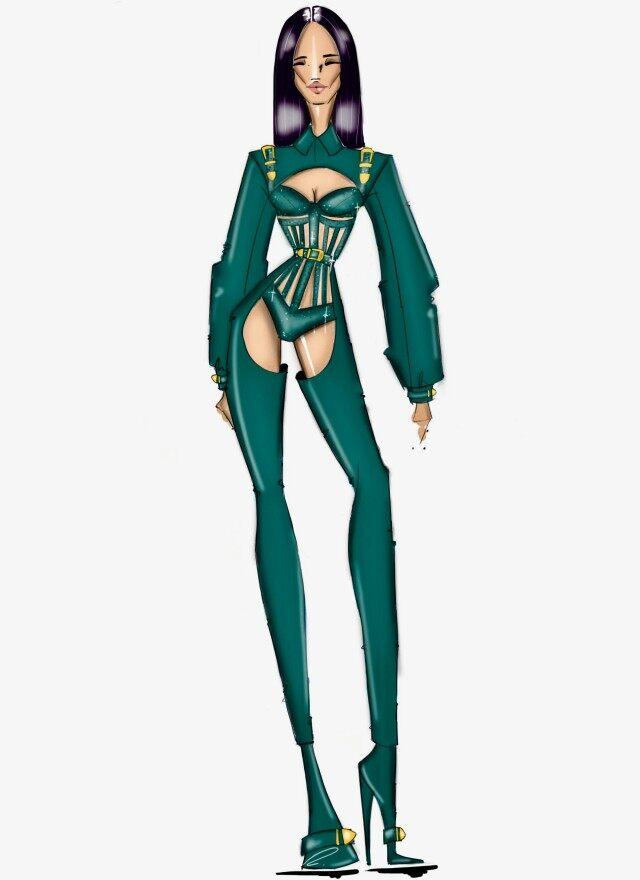 Cardi B Bryan Hearns BET Awards outfit sketch