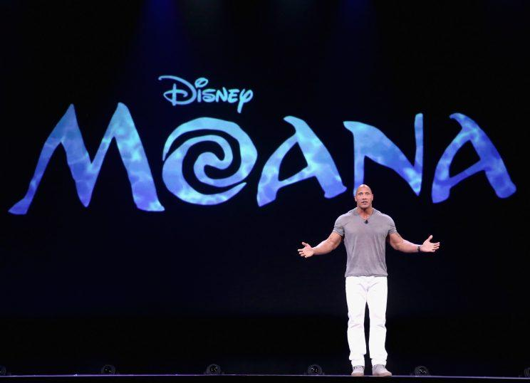 Johnson talking about Moana at the D23 EXPO in 2015. (Photo: Jesse Grant/Getty Images for Disney)