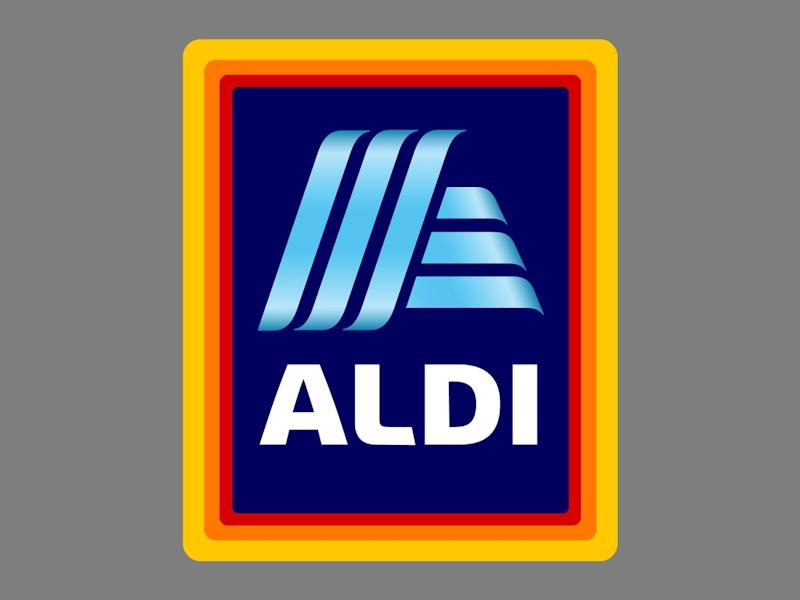 Aldi logo, global discount supermarket chain, graphic element on gray