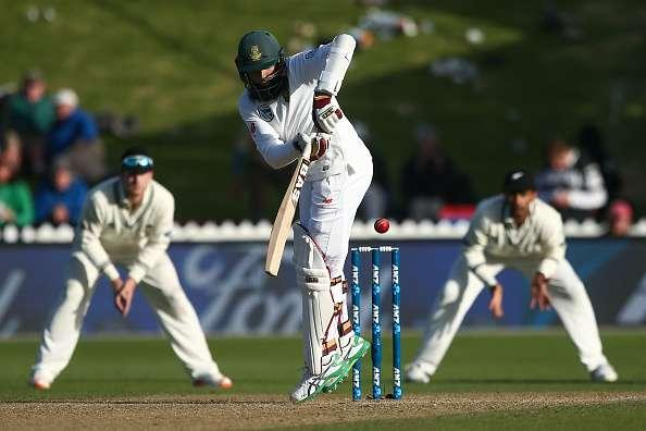 WELLINGTON, NEW ZEALAND - MARCH 18: Hashim Amla of South Africa bats during day three of the test match between New Zealand and South Africa at Basin Reserve on March 18, 2017 in Wellington, New Zealand. (Photo by Hagen Hopkins/Getty Images)