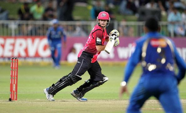 DURBAN, SOUTH AFRICA - OCTOBER 22:  Steven Smith of Sydney in action during the Champions League twenty20 match between Sydney Sixers and Mumbai Indians at Sahara Stadium Kingsmead on October 22, 2012 in Durban, South Africa. (Photo by Anesh Debiky / Gallo Images/Getty Images)