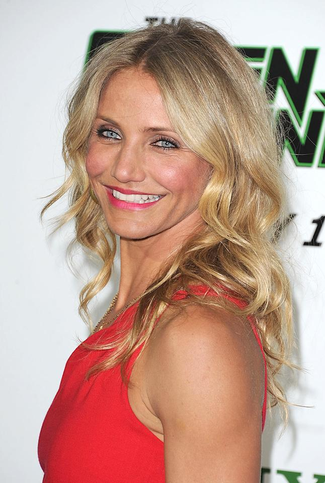 """<a href=""""http://movies.yahoo.com/movie/contributor/1800020297"""">Cameron Diaz</a> attends the Los Angeles premiere of <a href=""""http://movies.yahoo.com/movie/1808411967/info"""">The Green Hornet</a> on January 10, 2011."""