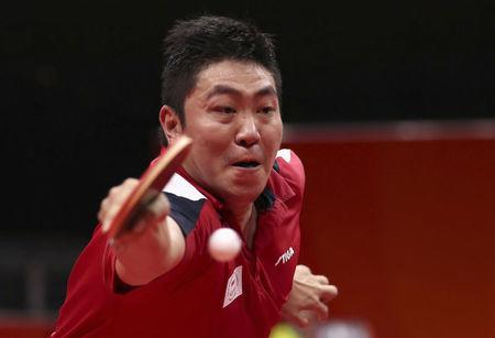 Table Tennis - Gold Coast 2018 Commonwealth Games - Men's Singles - Gold Medal Match - Nigeria v Singapore - Oxenford Studios - Gold Coast, Australia - April 15, 2018. Gao Ning of Singapore in action. REUTERS/Jeremy Lee