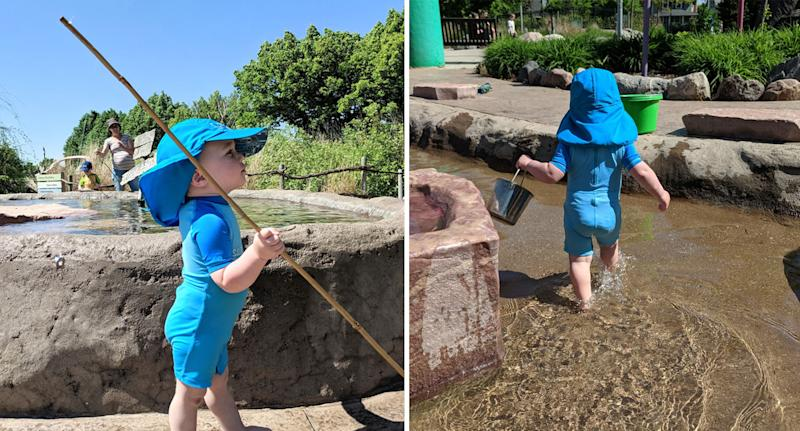 """Landon pictured in adorable photos from the day he went """"fishing"""" in South Dakota."""