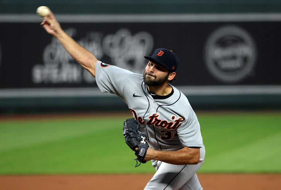 Starting pitcher Michael Fulmer (32) of the Detroit Tigers pitches during the 1st inning of the game at Kauffman Stadium on Sept. 24, 2020, in Kansas City, Missouri.