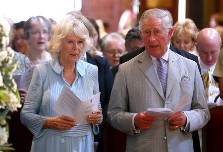 Britain's Prince Charles and Camilla, Duchess of Cornwall attend a service at St George's Cathedral in Perth