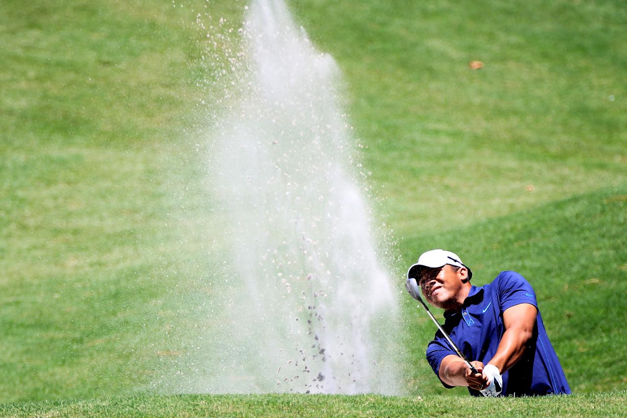 PONTE VEDRA BEACH, FL - MAY 10:  Jhonattan Vegas of Venezuela hits a shot from a bunker on the second hole during the first round of THE PLAYERS Championship held at THE PLAYERS Stadium course at TPC Sawgrass on May 10, 2012 in Ponte Vedra Beach, Florida.  (Photo by Sam Greenwood/Getty Images)